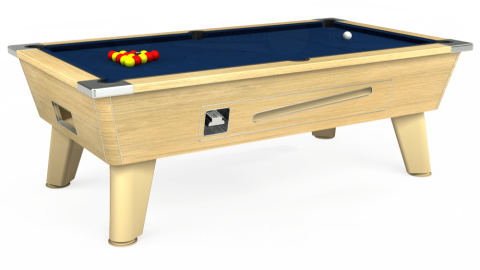 7ft Omega Coin Operated in Light Oak with Hainsworth Elite-Pro Marine Blue cloth