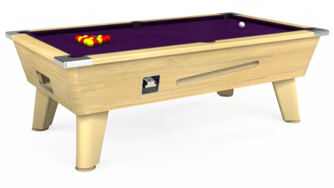 7ft Omega Coin Operated in Light Oak with Hainsworth Elite-Pro Purple cloth