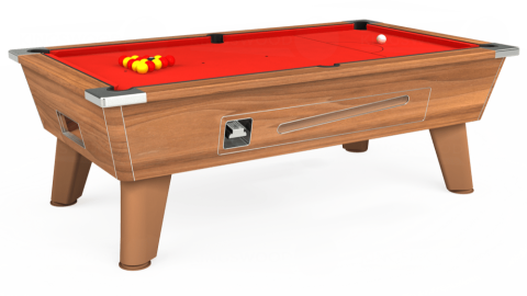 7ft Omega Coin Operated in Light Walnut with Hainsworth Elite-Pro Bright Red cloth