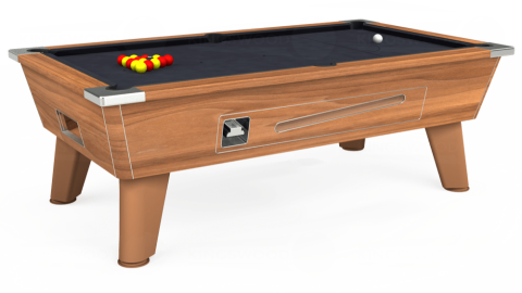 7ft Omega Coin Operated in Light Walnut with Hainsworth Elite-Pro Charcoal cloth