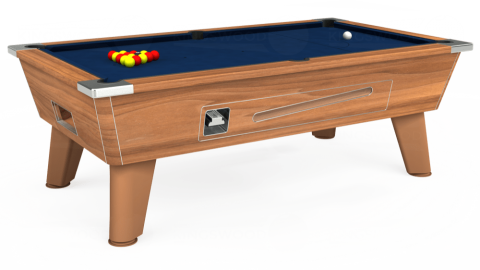 7ft Omega Coin Operated in Light Walnut with Hainsworth Elite-Pro Marine Blue cloth