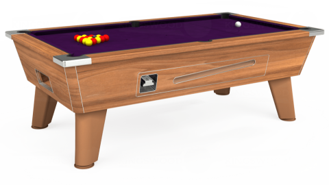 7ft Omega Coin Operated in Light Walnut with Hainsworth Elite-Pro Purple cloth
