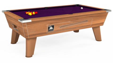 7ft Omega Coin Operated in Light Walnut with Hainsworth Smart Purple cloth