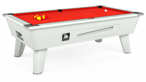 6ft Omega Coin Operated in White with Hainsworth Elite-Pro Bright Red cloth