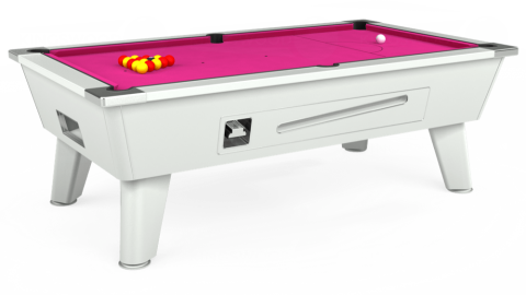 6ft Omega Coin Operated in White with Hainsworth Elite-Pro Fuchsia cloth