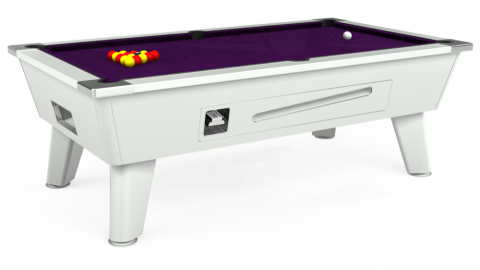 7ft Omega Coin Operated in White with Hainsworth Elite-Pro Purple cloth