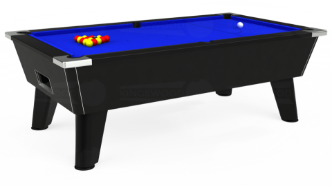 7ft Omega Free Play in Black with Standard Blue cloth