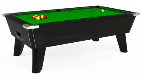 7ft Omega Free Play in Black with Standard Green cloth