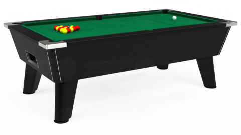7ft Omega Free Play in Black with Hainsworth Elite-Pro American Green cloth