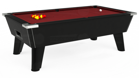 6ft Omega Free Play in Black with Hainsworth Elite-Pro Burgundy cloth