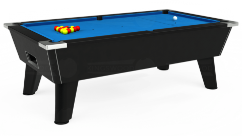 7ft Omega Free Play in Black with Hainsworth Elite-Pro Electric Blue cloth