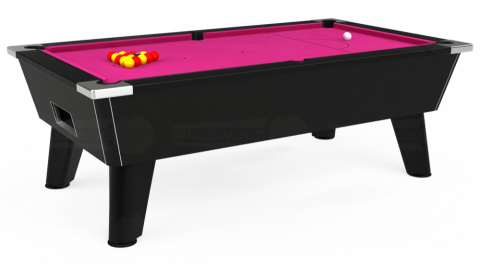 7ft Omega Free Play in Black with Hainsworth Elite-Pro Fuchsia cloth