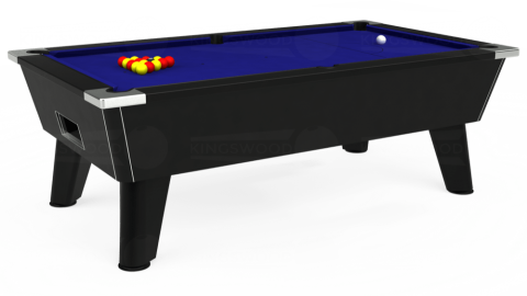 7ft Omega Free Play in Black with Hainsworth Smart Royal Blue cloth