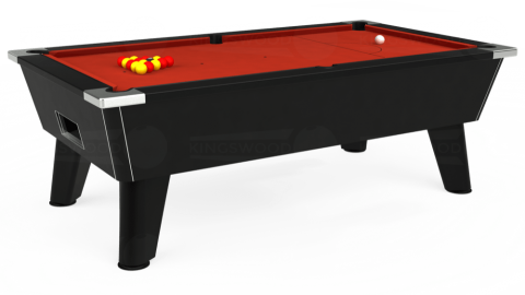 7ft Omega Free Play in Black with Hainsworth Smart Windsor Red cloth