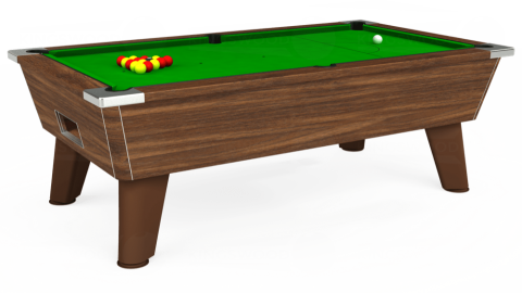 7ft Omega Free Play in Dark Walnut with Standard Green cloth