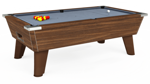 7ft Omega Free Play in Dark Walnut with Hainsworth Elite-Pro Bankers Grey cloth