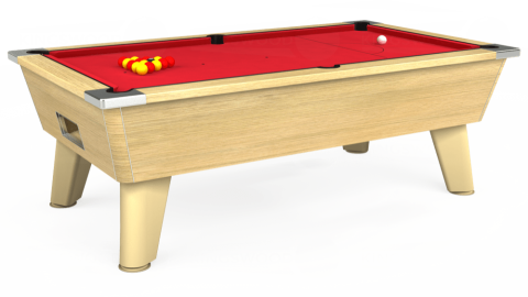 7ft Omega Free Play in Light Oak with Standard Red cloth