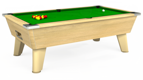 7ft Omega Free Play in Light Oak with Standard Green cloth