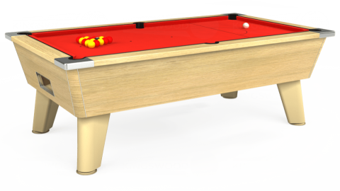7ft Omega Free Play in Light Oak with Hainsworth Elite-Pro Bright Red cloth
