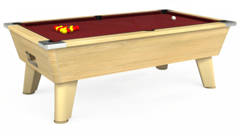 6ft Omega Free Play in Light Oak with Hainsworth Elite-Pro Burgundy cloth