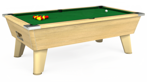 7ft Omega Free Play in Light Oak with Hainsworth Elite-Pro English Green cloth