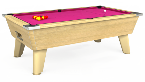 7ft Omega Free Play in Light Oak with Hainsworth Elite-Pro Fuchsia cloth