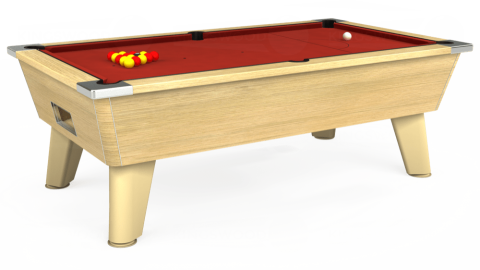 7ft Omega Free Play in Light Oak with Hainsworth Elite-Pro Red cloth