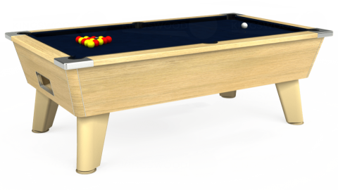 7ft Omega Free Play in Light Oak with Hainsworth Smart French Navy cloth