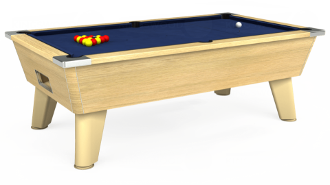 7ft Omega Free Play in Light Oak with Hainsworth Smart Navy cloth