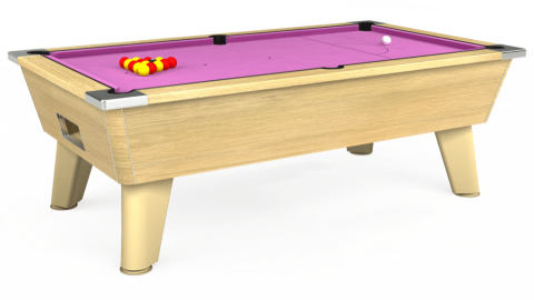 7ft Omega Free Play in Light Oak with Hainsworth Smart Pink cloth