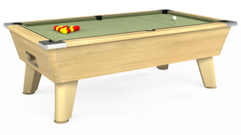 7ft Omega Free Play in Light Oak with Hainsworth Smart Sage cloth
