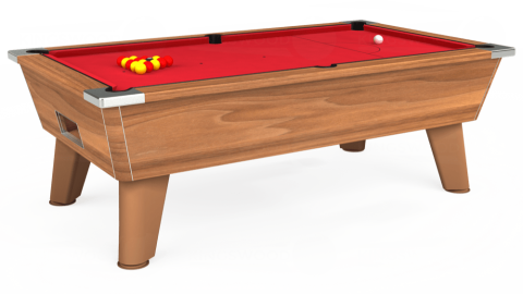 7ft Omega Free Play in Light Walnut with Standard Red cloth