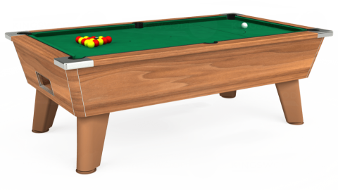 7ft Omega Free Play in Light Walnut with Hainsworth Elite-Pro American Green cloth