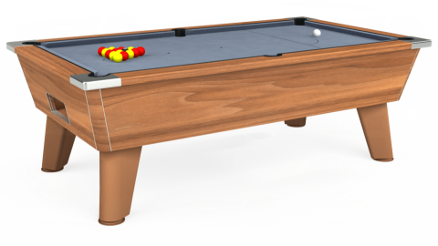 7ft Omega Free Play in Light Walnut with Hainsworth Elite-Pro Bankers Grey cloth