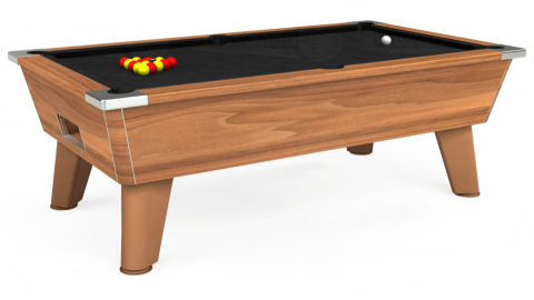 6ft Omega Free Play in Light Walnut with Hainsworth Elite-Pro Black cloth