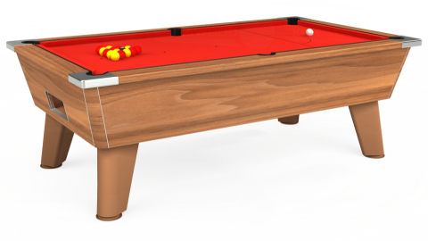 7ft Omega Free Play in Light Walnut with Hainsworth Elite-Pro Bright Red cloth