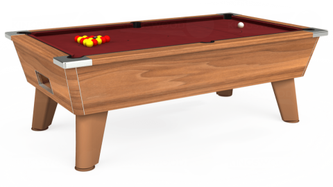6ft Omega Free Play in Light Walnut with Hainsworth Elite-Pro Burgundy cloth