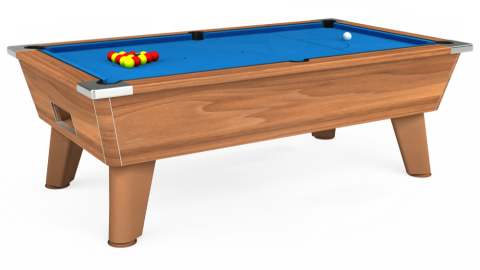 7ft Omega Free Play in Light Walnut with Hainsworth Elite-Pro Electric Blue cloth