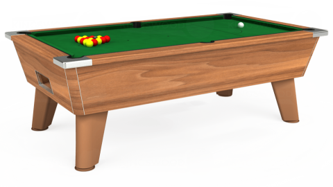 7ft Omega Free Play in Light Walnut with Hainsworth Elite-Pro English Green cloth
