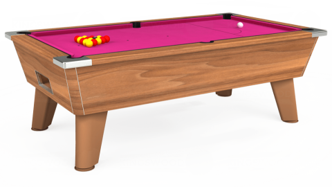 7ft Omega Free Play in Light Walnut with Hainsworth Elite-Pro Fuchsia cloth