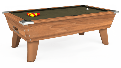7ft Omega Free Play in Light Walnut with Hainsworth Elite-Pro Olive cloth