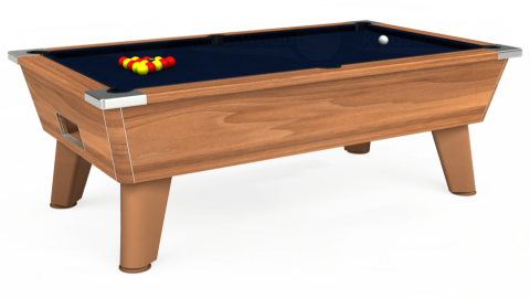 7ft Omega Free Play in Light Walnut with Hainsworth Smart French Navy cloth