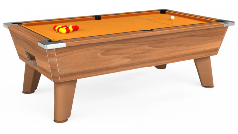 7ft Omega Free Play in Light Walnut with Hainsworth Smart Gold cloth