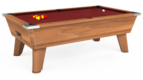 7ft Omega Free Play in Light Walnut with Hainsworth Smart Maroon cloth