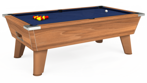 7ft Omega Free Play in Light Walnut with Hainsworth Smart Royal Navy cloth