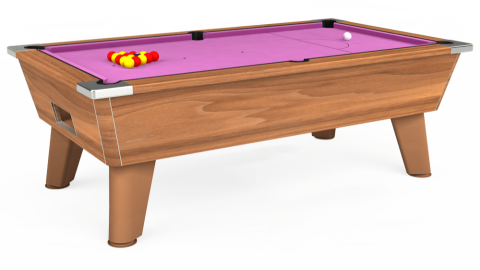 7ft Omega Free Play in Light Walnut with Hainsworth Smart Pink cloth