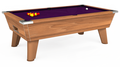 7ft Omega Free Play in Light Walnut with Hainsworth Smart Purple cloth