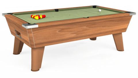 7ft Omega Free Play in Light Walnut with Hainsworth Smart Sage cloth