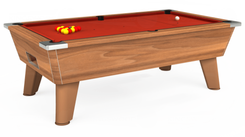 7ft Omega Free Play in Light Walnut with Hainsworth Smart Windsor Red cloth