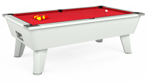 7ft Omega Free Play in White with Standard Red cloth
